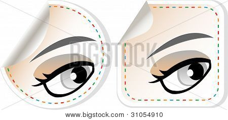 Label Set Woman Brown Eye With Pastel Color Makeup