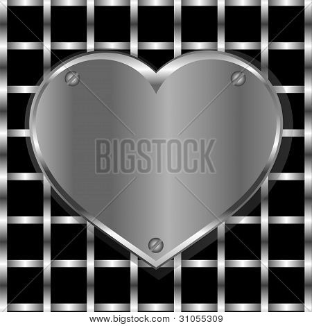 Brushed Metal Heart On A Perforated Metal Background
