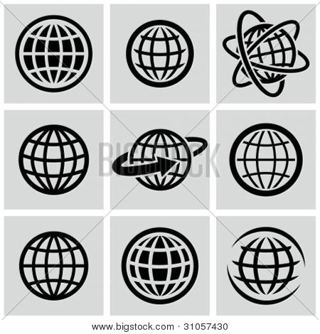 Globos - vector negro icons set.