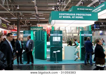 Hannover, Germany - March 10, 2012: Stand Of The Kaspersky Lab In Cebit Computer Expo, Hannover, Ger