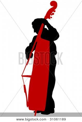 Vector drawing of a man with an acoustic bass
