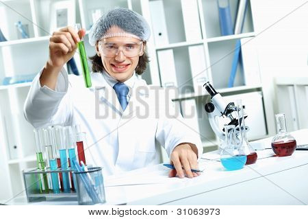 Young scientist working in laboratory