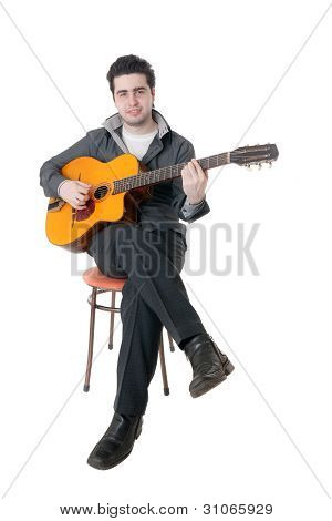 Portrait Of The Guitarist On A Chair