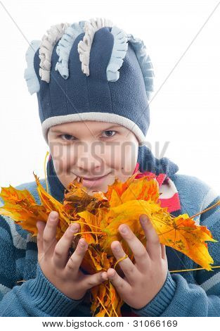 Teenage boy wearing sweater, scarf and cap holds pile of colorful autumn leaves