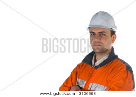 Miner Isolated On White With Copy Space