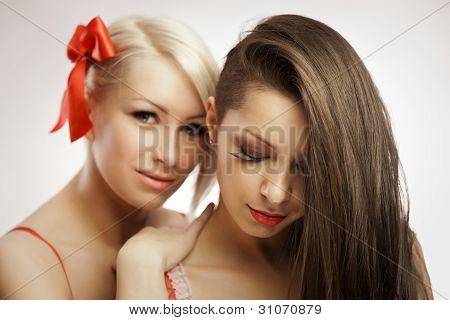 Blonde And Brunette Portrait