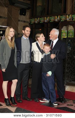 LOS ANGELES, CA - MAR 16: Malcolm McDowell, wife Kelley,daughter Lilly, son Charlie , son Beckett at a ceremony where Malcolm McDowell is honored with a star on March 16, 2012 in Los Angeles, CA