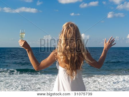Woman In White Dress Near Sea Looking Far
