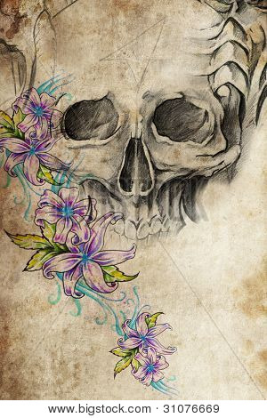 Tattoo design with skull with flowers on old paper