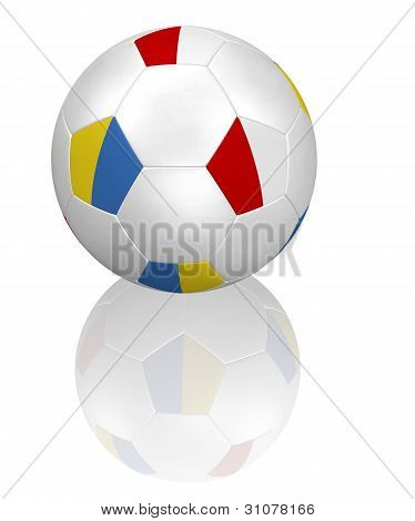 Polish and Ukrainian flag soccer ball on white with reflection