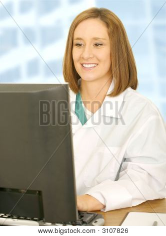 Doctor Woman Working With Her Computer