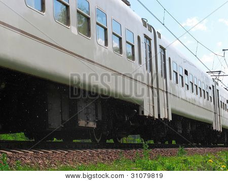 The image of close-up electric train car
