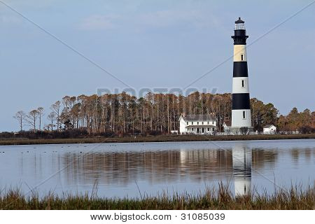 Bodie Lighthouse In Reflecting Pond