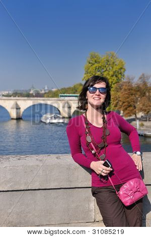 beautiful youn woman tourist  in france at vacation and travel trip