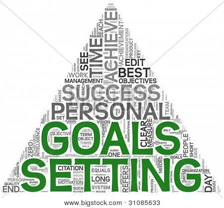 Goals setting concept in word tag cloud on white background