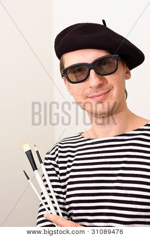 The Artist with Beret and Brushes