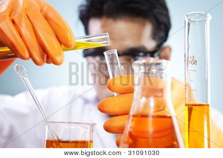 Scientist mixing formula