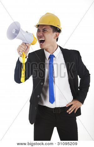 Engineer Yelling Through Megaphone