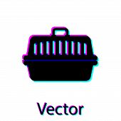 Black Pet Carry Case Icon Isolated On White Background. Carrier For Animals, Dog And Cat. Container  poster