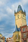 Vertical Photo Of Famous Old Town Hall In Czech Capital Prague. Photographed During Sunrise Golden H poster