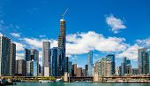 Chicago City Skyscrapers On The River Canal, Blue Sky Background poster