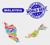 Element Malaysia Map And Blue World Best Scratched Seal Stamp. Colorful Vector Malaysia Map Mosaic O poster