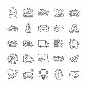Transport Line Icons. Helicopter, Taxi And Subway Train Icons. Truck Car, Tram And Air Balloon Trans poster
