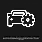 Black Car Service Icon Isolated On Black Background. Auto Mechanic Service. Mechanic Service. Repair poster