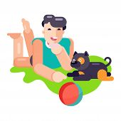 Man Boy Play With Best Friend Pet Character Dog Or Puppy Illustration. Family Playing With Doggie An poster