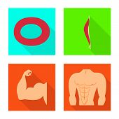 Vector Design Of Muscle And Cells Sign. Collection Of Muscle And Anatomy Stock Symbol For Web. poster