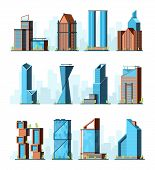 Urban Skyscrapers. Modern Corporate Office Buildings Company Center Vector City Constructions. Illus poster