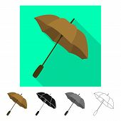 Isolated Object Of Parasol And Autumn Icon. Collection Of Parasol And Season Stock Symbol For Web. poster