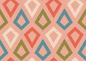 Vintage Vector Seamless Pattern In Retro Style. Retro Colorful Pattern With Grunge Abstract Rhombus. poster