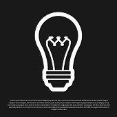 Black Light Bulb Icon Isolated On Black Background. Energy And Idea Symbol. Lamp Electric. Vector Il poster