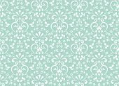 Wallpaper In The Style Of Baroque. Seamless Background. White And Blue Floral Ornament. Graphic Patt poster