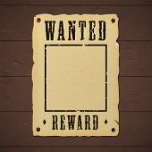 Blank Old Wanted Banner Template Nailed To A Wooden Wall poster
