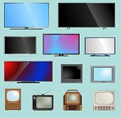 Tv Screen Lcd Monitor Template Illustration. Electronic Device Tv-screen Infographic. Technology Dig poster