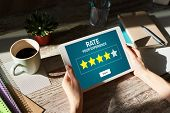 Rate Customer Experience Review. Service And Customer Satisfaction. Five Stars Rating. Business Inte poster