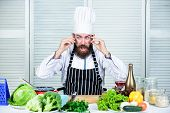 Master Chef Concept. Culinary Is Exciting. Chef Handsome Hipster. Get Ready. Man Bearded Chef Gettin poster