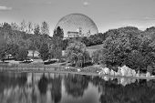 stock photo of geodesic  - The geodesic dome called Biosphere is a museum in Montreal dedicated to water and the environment. It is located at Parc Jean-Drapeau, on Saint Helen