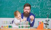Fascinating Chemistry Lesson. Man Bearded Teacher And Pupil With Test Tubes In Classroom. Private Le poster