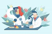 Scientists Working In Laboratory On The Abstract Background. Medical Researchers Doing Experiments A poster
