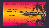 Cruise Ship For Summer Travel Vector Illustration. Seaway Cruiseliner In Sea Near Palm Beach. Illust poster