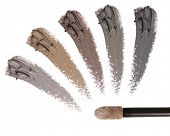 Eyebrow liquid with a brush. Color palette. Brow mascara. Eyebrow pencil . Isolated on white backgro poster