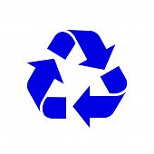 Recycle Symbol Blue Isolated On White Background, Blue Ecology Icon Sign, Blue Arrow Shape For Recyc poster