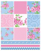 Shabby Chic Country Floral Vector Seamless Patterns.  Use to make quilts, fabric projects or paper c