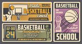 Basketball Sport Retro Design With Vector Balls, Winner Trophy Cup And Basket, Players, Arena And Sc poster