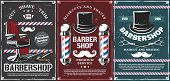 Barbershop Vector Design Of Men Haircut, Beard And Mustache Shave Saloon. Retro Poles Of Barber Shop poster