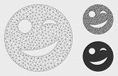 Mesh Joy Smiley Model With Triangle Mosaic Icon. Wire Frame Triangular Mesh Of Joy Smiley. Vector Co poster