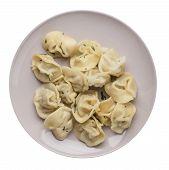 Dumplings On A Light Gray  Plate Isolated On White Background .boiled Dumplings.meat Dumplings Top V poster
